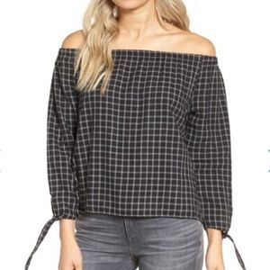 Madewell Plaid Off The Shoulder Top M